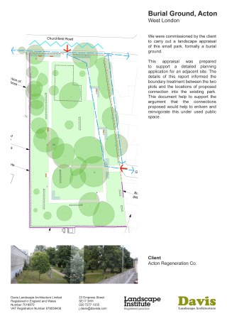 Burial Ground Acton. We were commissioned by the client to carry out a landscape appraisal of this small park, formally a burial ground. This appraisal was prepared to support a detailed planning application for an adjacent site. The details of this report informed the boundary treatment between the two plots and the locations of proposed connection into the existing park. This document help to support the argument that the connections proposed would help to enliven and reinvigorate this under used public space.