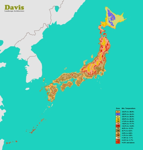 Japan Plant Hardiness Zone Map