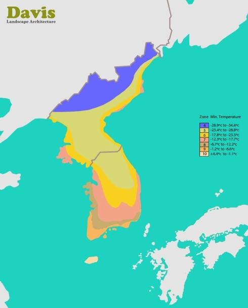Korea Plant Hardiness Zone Map