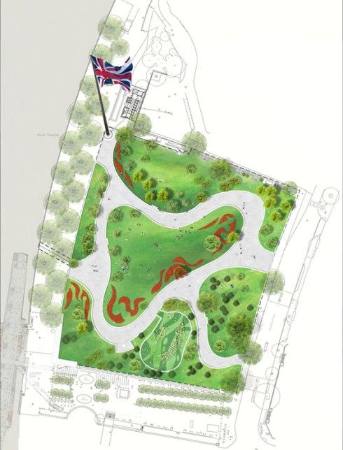 Plan of Jubilee Gardens, London - © West 8 urban design & landscape architecture