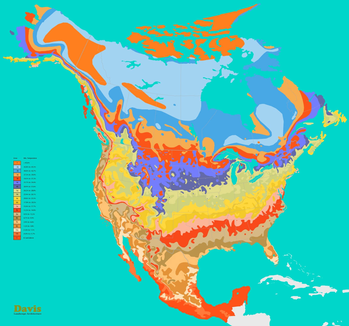 North America Hardiness Map Landscape Architects Pages - Map of usa with zones