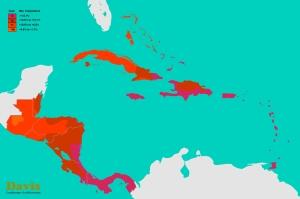 Belize, Guatemala, Honduras, El Salvador, Nicaragua, Costa Rica, Panama, Cuba, Jamaica, Haiti, Dominican Republic, Caribbean Plant Hardiness Zones Map