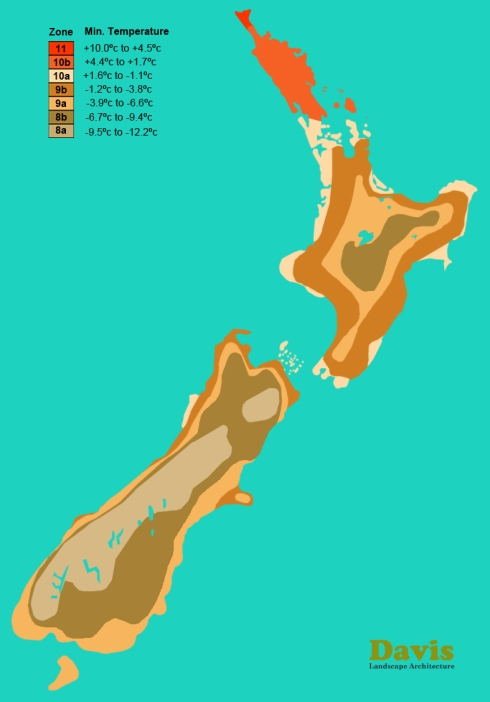 USDA New Zealand Plant Hardiness Zone Map