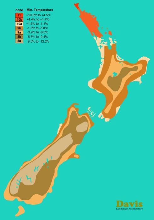 USDA New Zealand Plant Hardiness Zone Map