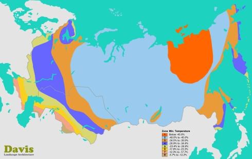 Russia Kazakhstan Plant Hardiness Zone Map