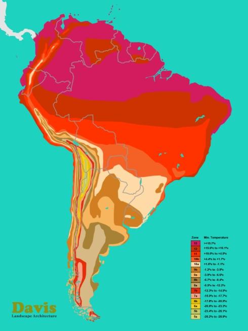USDA South America Colombia Venezuela Ecuador Peru Brazil Bolivia Paraguay Chile Argentina Uruguay Plant Hardiness Zone Map