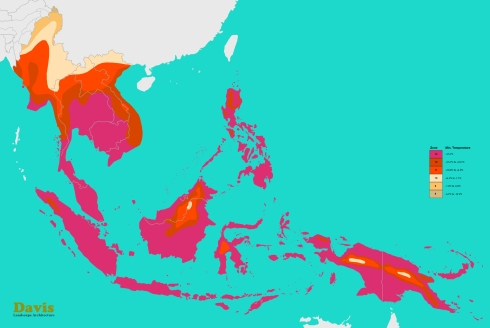 USDA South East Indonesia, Philippines, Malaysia, Thailand, Laos, Cambodia, Vietnam, Burma, Papua New Guinea Plant Hardiness Zones Map