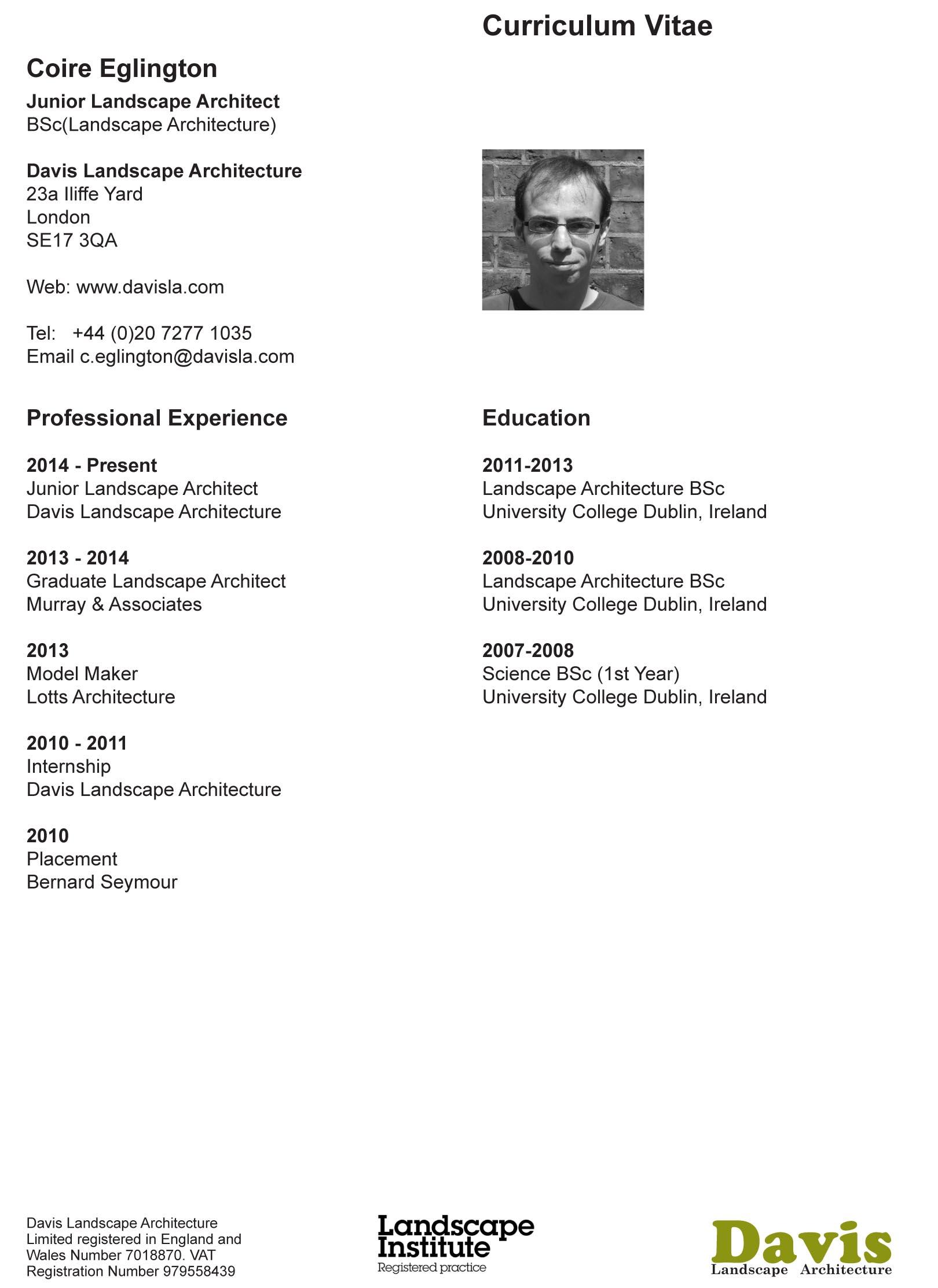 Our Cv S Landscape Architect S Pages