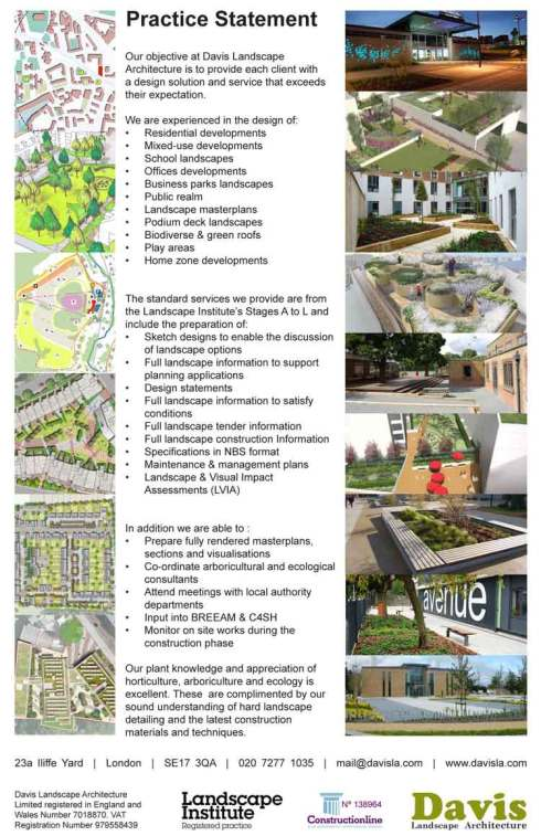 davis landscape architecture practice statement london residential masterplan school housing development