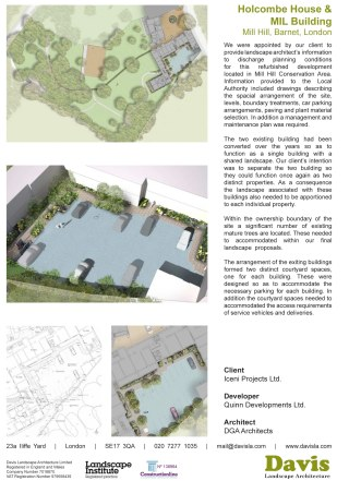 We were appointed by our client to provide landscape architect's information to discharge planning conditions for this refurbished development located in Mill Hill Conservation Area. Information provided to the Local Authority included drawings describing the spacial arrangement of the site, levels, boundary treatments, car parking arrangements, paving and plant material selection. In addition a management and maintenance plan was required. The two existing building had been converted over the years so as to function as a single building with a shared landscape. Our client's intention was to separate the two building so they could function once again as two distinct properties. As a consequence the landscape associated with these buildings also needed to be apportioned to each individual property. Within the ownership boundary of the site a significant number of existing mature trees are located. These needed to accommodated within our final landscape proposals. The arrangement of the exiting buildings formed two distinct courtyard spaces, one for each building. These were designed so as to accommodate the necessary parking for each building. In addition the courtyard spaces needed to accommodated the access requirements of service vehicles and deliveries.