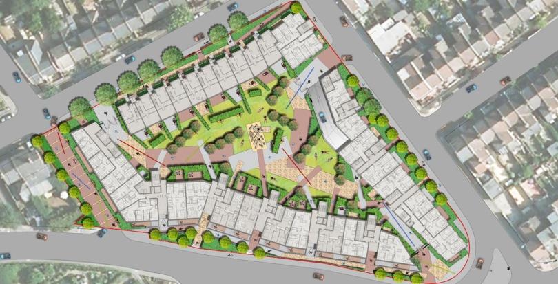 0155 Davis Landscape Architecture Ruckholt Road London Residential Landscape Rendered Masterplan