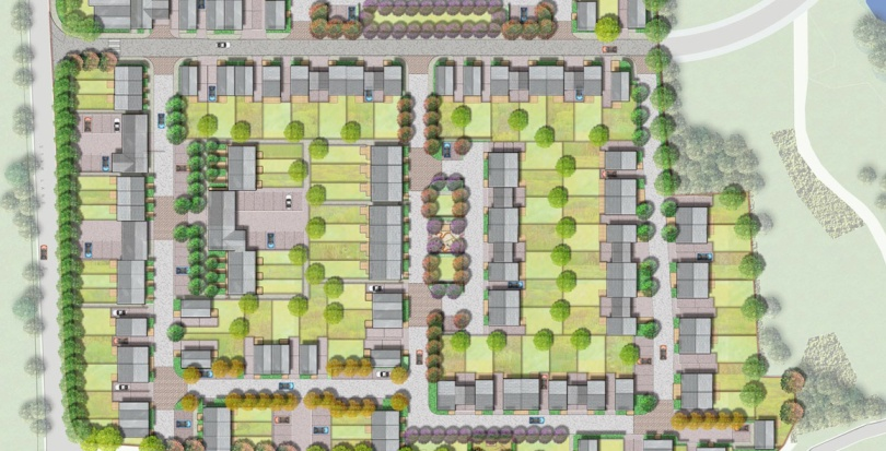 0176 Davis Landscape Architecture Star Lane Ph 1 Great Wakering Home Zone Residential Landscape Rendered Masterplan