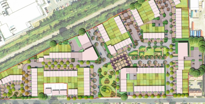 0204 Davis Landscape Architecture Oxford Greyhound Stadium Home Zone Residential Landscape Rendered Site Wide Masterplan