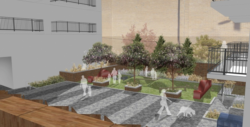 0251 Davis Landscape Architecture Bow Road London Home Zone Residential Landscape Courtyard Rendered Visualisation