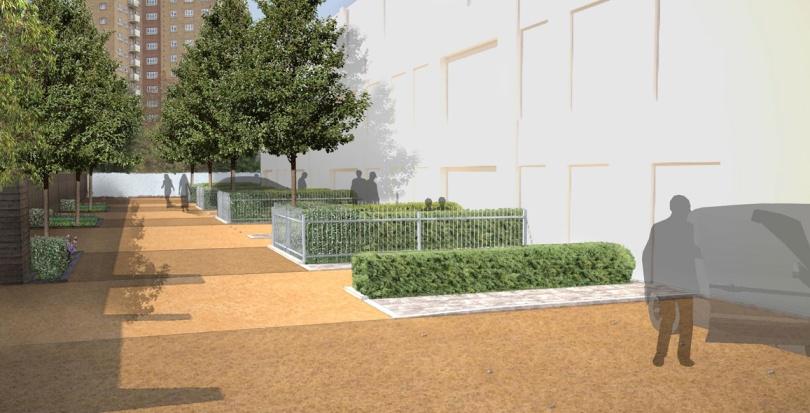 0285 Davis Landscape Architecture Tudor Court London Home Zone Residential Landscape Visulisation Render