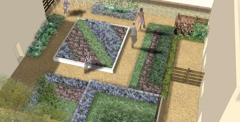 0293 Davis Landscape Architecture Mile End Road London Residential Landscape Render Courtyard Visualization Planning