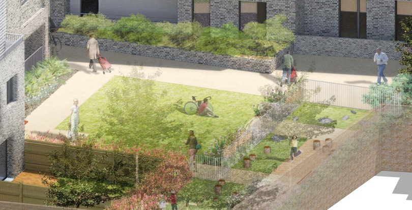 0323 Davis Landscape Architecture Watts Grove London Residential Landscape Play Area Courtyard Visualisation Planning
