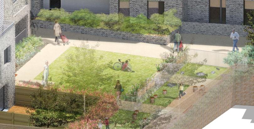 0323 Davis Landscape Architecture Watts Grove London Residential Landscape Play Area Courtyard Visualisation Planning