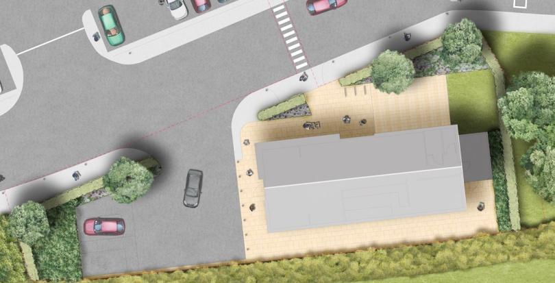 0330 Davis Landscape Architecture Costa Coffee Huntingdon Commercial Landscape Architect Rendered Plan Planning