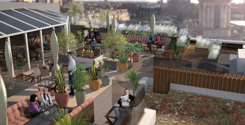 0382 Davis Landscape Architecture Vintry Mercer Hotel Mansion House London Landscape Architect Design Concept Render Roof Terrace