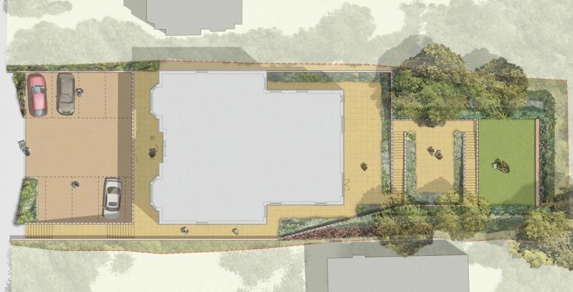 Davis Landscape Architecture Plough Lane London Residential Rendered Landscape Plan