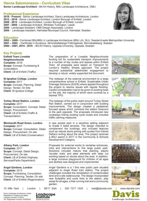 DAVIS Landscape Architecture Hanna Salomonsson Senior Landscape Architect CV 2018