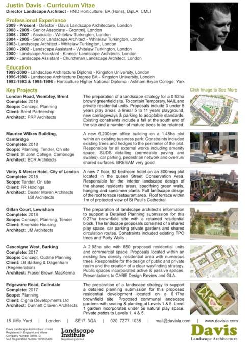 DAVIS Landscape Architecture - Justin Davis Director Landscape Architect CV 2018
