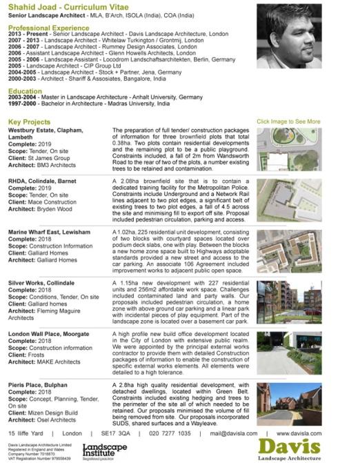 DAVIS Landscape Architecture Shahid Joad Senior Landscape Architect CV 2018